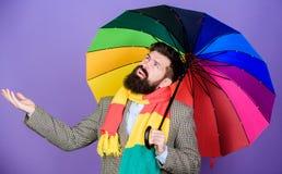 Weervoorspellingsconcept De greep kleurrijke paraplu van mensen gebaarde hipster Het schijnt te regenen De regenachtige dagen kun royalty-vrije stock foto