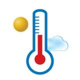 Weervoorspellingspictogrammen voor uw ontwerp Openluchtthermometer, Zon, Wolk Stock Foto