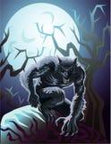 Weerwolf en maan royalty-vrije illustratie