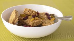 Weet-Bix and Dried Fruit in White Bowl. Stock Images