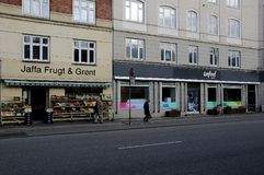 WEFOOD SHOP OWN BY DANISH FOLKE CHURCH. Copenhagen /Denmark - 25.October 2017. WEFOOD store is own by danish state luthern church called folke kirke aid, wefood royalty free stock image