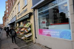 WEFOOD SHOP OWN BY DANISH FOLKE CHURCH. Copenhagen /Denmark - 25.October 2017. WEFOOD store is own by danish state luthern church called folke kirke aid, wefood stock photography