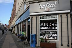 WEFOOD SHOP OWN BY DANISH FOLKE CHURCH. Copenhagen /Denmark - 25.October 2017. WEFOOD store is own by danish state luthern church called folke kirke aid, wefood royalty free stock images