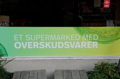 WEFOOD SHOP OWN BY DANISH FOLKE CHURCH. Copenhagen /Denmark - 25.October 2017. WEFOOD store is own by danish state luthern church called folke kirke aid, wefood royalty free stock photography