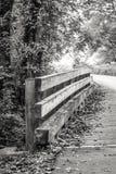 Weg über der hölzernen Brücke, die zu das Licht führt Lizenzfreie Stockfotografie