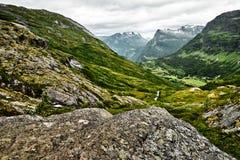 Weg über grüner Weide in den Bergen von West-Norwegen mit Schnee auf den Gipfeln und einem dunklen bewölkten Himmel Stockfotografie