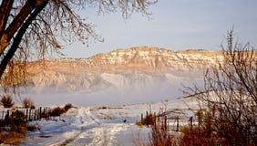 Weg aan Berg in de Winter Stock Afbeeldingen
