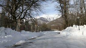 Weg aan de bergen in het de winterbos stock videobeelden