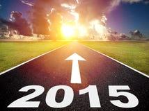 Weg aan de nieuwe het jaar en de zonsopgangachtergrond van 2015 Royalty-vrije Stock Foto's