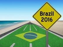 Weg aan de olympische spelen van Brazilië in Rio 2016 Stock Fotografie