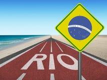 Weg aan de olympische spelen van Brazilië in Rio 2016 Royalty-vrije Stock Afbeeldingen