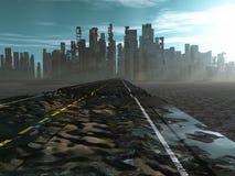 Weg aan dode stad vector illustratie