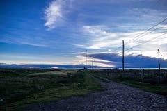 Weg aan het mistic Titicaca-Meer royalty-vrije stock foto's