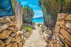 Weg aan het strand in Sardinige stock foto