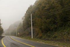 Weg aan hout in de herfstseizoen Royalty-vrije Stock Fotografie
