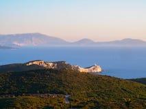 Weg aan Kaap Lefkas op Lefkada, Griekenland Royalty-vrije Stock Foto
