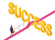 Weg aan Succes Bedrijfs strategieconcept Bedrijfsvrouw met aktentas het in hand lopen op rood tapijt aan het succes strategie stock illustratie