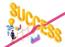 Weg aan Succes Bedrijfs strategieconcept Bedrijfsvrouw met aktentas het in hand lopen op rood tapijt aan het succes strategie vector illustratie