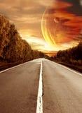 Weg aan surreal zonsondergang stock illustratie