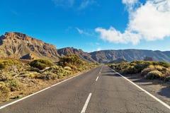 Weg aan vulkaan Gr Teide Stock Foto's