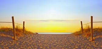 Weg auf dem Sand, der zum Ozean im Miami Beach Florida geht Stockbilder