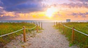Weg auf dem Sand, der zum Ozean im Miami Beach geht lizenzfreie stockfotografie