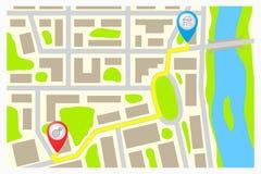 Weg auf der Karte der Stadt. Lizenzfreie Stockfotos