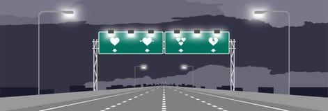Weg of autosnelweg en groene signage met de valentijnskaartconceptontwerp van het hartsymbool royalty-vrije illustratie
