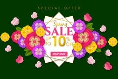 Weg bieden de Promotie de bannerachtergrond van de de lenteverkoop met kleurrijke bloem en de vlinder voor de Speciale lente 10%  vector illustratie