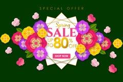 Weg bieden de Promotie de bannerachtergrond van de de lenteverkoop met kleurrijke bloem en de vlinder voor de Speciale lente 80%  vector illustratie