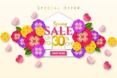 Weg bieden de Promotie de bannerachtergrond van de de lenteverkoop met kleurrijke bloem en de vlinder voor de Speciale lente 30%  vector illustratie