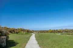 Weg bij het Park van het Golfbrekerland op Anglesey in Wales - het Verenigd Koninkrijk stock afbeeldingen