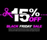 15% WEG weg Black Friday-Verkauf, vom fördernden Plakat oder von der Aufkleber-Design-Vektor-Illustration Lizenzfreie Stockfotografie