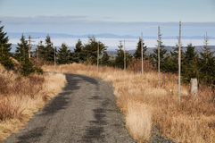 Weg in de bergen met bruin gras Stock Afbeeldingen