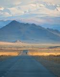 Weg in de bergen van Mongolië stock foto