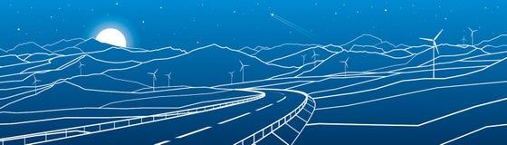 Weg in de bergen Zonsondergang achter de rotsen De scène van de nacht Witte lijnen op blauwe achtergrond Windmolensmacht Vectoron Stock Fotografie