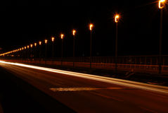 Weg in de nacht Royalty-vrije Stock Fotografie