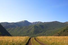 Weg in de uitlopers van Altai Stock Fotografie
