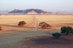 Weg in de woestijn stock afbeeldingen