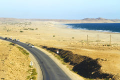 Weg in de Woestijn van Oman stock afbeelding