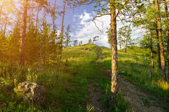 Weg, der zu die Spitze von Sugomak-Berg in Süd-Urals, Russland führt Lizenzfreie Stockbilder