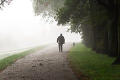 Weg des alten Mannes in den Nebel Lizenzfreies Stockbild