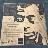 Weg des Homosexuellen, der Regenbogen-Ehrenweg, James Baldwin lizenzfreie stockbilder