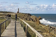Weg des Leuchtturmes von Penedo DA Saudade Lizenzfreie Stockfotos