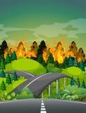 Weg dichtbij wildfire bos vector illustratie