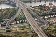 Weg die de Donau in Wenen kruist Stock Foto