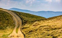 Weg door de bergheuvel in de zomer Royalty-vrije Stock Afbeelding