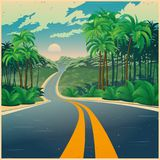Weg door de wildernis in retro affichestijl Stock Afbeelding