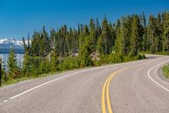 Weg door het meer in Yellowstone Stock Foto