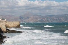 Weg durch die venetianische Festung Koules stockbilder